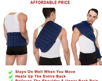 Microwaveable Lower Back Heating Wrap With Straps, Moist Heat, Back Pain Relief, Back Pack, Non-electric Personal Portable Compress