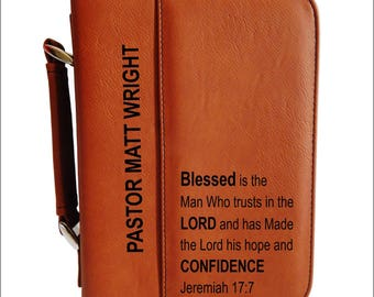 Christian Gifts for Pastor - Pastor Gift - Appreciation Gift Personalized - Leather Bible Case -Pastor Birthday Gift, BCL030