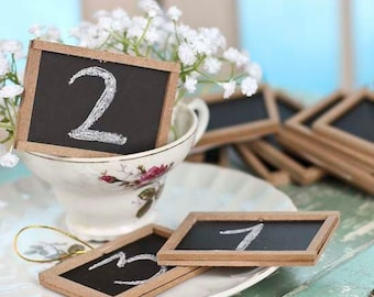 Lot of 24 Mini Chalkboard Table Talkers / Place cards / Wedding Favor Tags / Blank Labels / Rustic Weddings