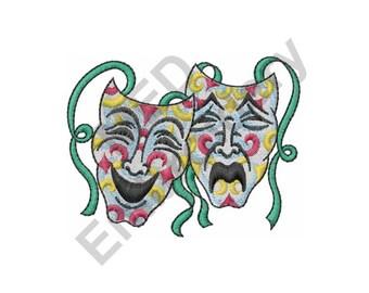 Drama - Machine Embroidery Design, Drama Masks