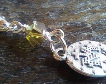 Miraculous Medal and Olive Swarovski Crystal