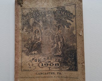 Early 1900s Agricultural Almanacs (1908, 1917, 1918 and 1925) Ephemera