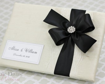 Wedding Guest Book Cream Black Custom Made in your Colors