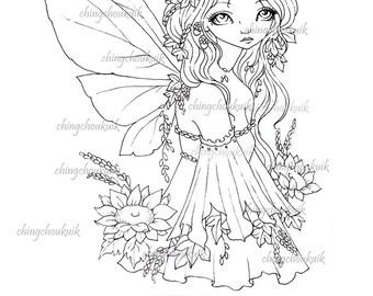 Autumn's Here - Instant Download / Autumn Sunflower Harvest Flower Fantasy Fairy Girl Art by Ching-Chou Kuik