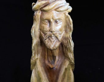 "Vintage Carved Olive Wood BUST of JESUS CHRIST / 6"" Tall Carved Wood Statue - Figure -Sculpture Christ w Crown of Thorns / Made in Holy Land"