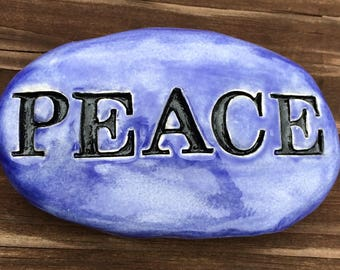 PEACE Garden Stone - EXOTIC BLUE Art Glaze - Inspirational Art Piece by Inner Art Peace
