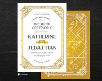 Great Gatsby Theme Wedding Invitation, Art Deco Wedding Invitation, 1920s Wedding Invitation, 1920s Wedding Card, Vintage Wedding Invitation