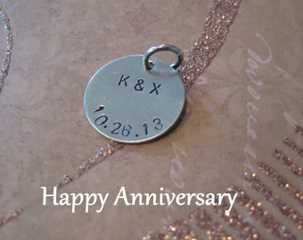 The Happy Anniversary Necklace with your wedding date hand stamped on Disc