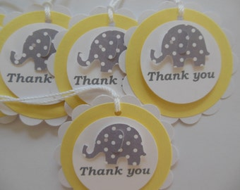 Elephant Thank You Tags - Gray Polka Dots, Yellow and White - Baby Shower Gift Tags - Party Favor Bag Tags - Set of 6