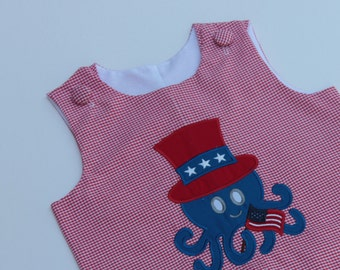 July 4th Boy's Jon Jon, Boy's Patriotic Outfit, Boy's July 4 Romper, Octopus Jon Jon, Deployment Welcome Home Outfit
