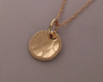 "14k Rose Gold Necklace Hand Hammered Recycled Gold 5/16"" Free Shipping"
