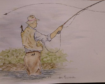 Fly fisherman watercolor.