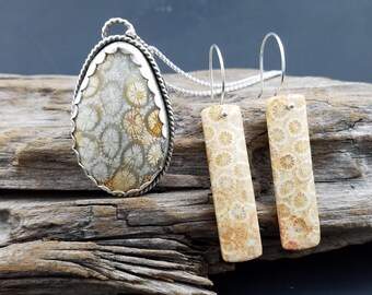 Argentium silver and fossil coral bar earrings
