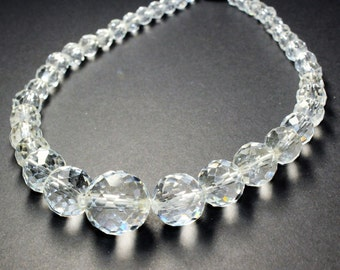 Chunky Clear Faceted Graduated Glass Beads, Chunky Clear Faceted Glass Beads Vintage Necklace (c1960s)
