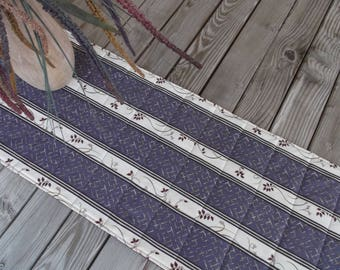 Purple stripe table runner, quilted table runner, fabric table runner, side board runner, table decor, table linens, 72 inches