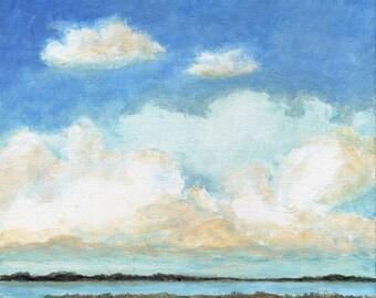 Original Landscape Painting Cloud Sea and Sky Calm Serene 8x8 Stretched Canvas Wetlands Ocean Beach