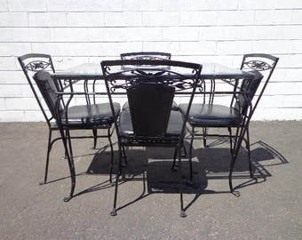 5PC Patio Set Salterini Table Chairs Outdoor Pool furniture Seating Lounge Mid Century Modern Wrought Iron Balcony Garden Porch Antique MCM