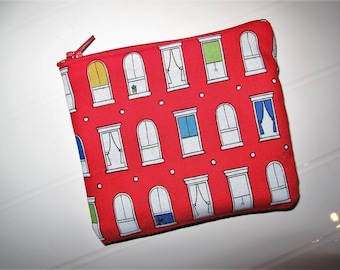 Small red and white purse cosmetic clutch with colored windows