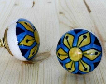 Round Ceramic Cabinet Knob with Blue and Yellow Pattern
