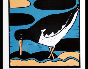 linocut, oystercatcher, stylized print, bird print, wader, blue and yellow, modern art, printmaking, mariann johansen-ellis, water, beach