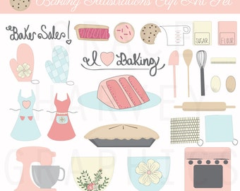 Baking Clip Art Illustrations Small Commercial Use EPS PNG Digital Illustration Clip Art Pack, Kitchen Clip Art, Instant Download Clip Art