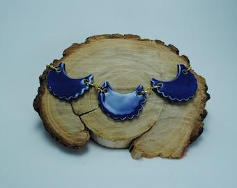Handcrafted Ceramic Necklace   Cobalt Crescent & Golden Chain Necklace