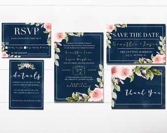 Navy Floral Wedding Invitation - Printable Navy Invitation Suite - Printable Navy and Pink Wedding Invitation - Navy Watercolor Invitation
