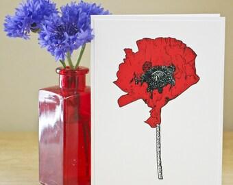 Red Poppy Bloom Card