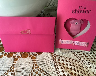BABY SHOWER CARD, Baby girl, congratulations, best friend, sister, aunt, anyone, Pinks,Heart, Onesie