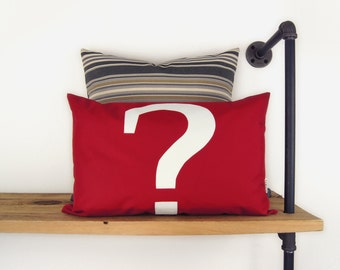 SALE || Red and White question mark outdoor pillow case | Sign, Symbol, typography | 12x18 Monogramm cushion cover | Patio garden decoration