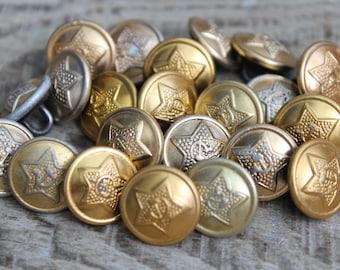 "20 pcs. military buttons (0.55"" / 14 mm) Vintage Soviet Army Uniform Buttons steampunk supplies uniform supplies / military uniform findings"