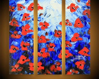 "Floral Painting, Poppy Art, Red Poppies, Large Painting, 36"" Painting, Contemporary Art, Palette Knife, Impasto Texture, Made to Order"