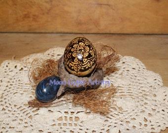 Handmade Pyrography Mandala Egg Gourd - Woodburning - Art