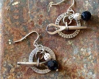 Vintage watch key earrings