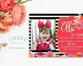 Black and White Stripe Birthday Invitation with photo, Floral Birthday Invitation, Gold Glitter Invitation, Girly Birthday Invite