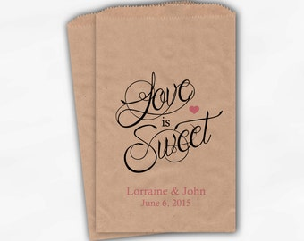 Love Is Sweet Calligraphy Wedding Candy Buffet Treat Bags - Personalized Favor Bags in Pink - Custom Kraft Paper Bags (0122)