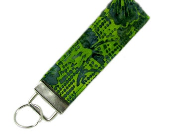 Personalized Fabric Key Chain / Key Fob Green Batik With Optional Initials