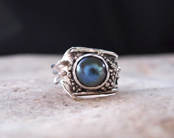 Granulated Sterling Silver Ring with Black / Dark Blue Pearl - One of A Kind - Handmade- Adjustable / Open - From Size 5 to Size 10