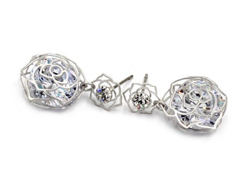 Fashionable Rose Crystal Earrings
