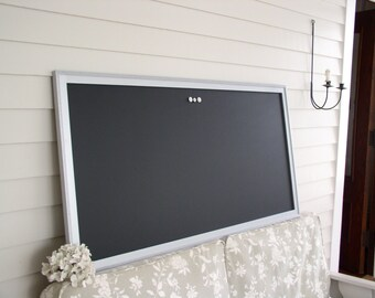 "HUGE Magnetic Chalkboard 26 x 50"" Restaurant Menu Board Metallic Silver Wood Frame Office Bulletin Board Corporate Office Conference Room"