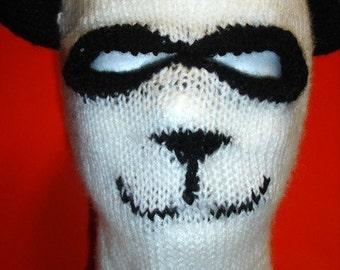 Custom Knit Panda Ski Hat / Mask Adult size