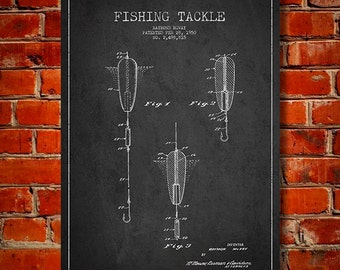 1950 Fishing Tackle Patent, Canvas Print, Wall Art, Home Decor, Gift Idea