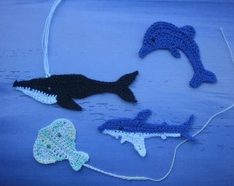 Sea Creatures from the Australian Coast- dolphins, whales, stingrays and sharks, crochet patterns bookmarks and motifs