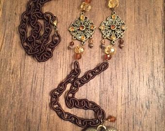 Long Layering Boho Gemstone Repurposed Necklace