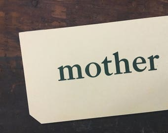 Vintage Mother Flashcard, Mom Flashcard, Primer Flash Card, Whitman Pre-Primer Word Card, Home Decor, Scrapbook Supply, Mother's Day