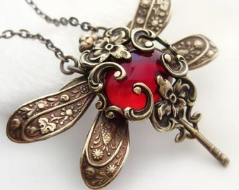 Red dragonfly necklace, Victorian style dragonfly jewelry,  vintage style filigree necklace, pendant necklace, woodland statement necklace