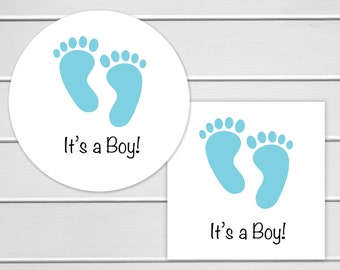 It's A Boy Stickers, Baby Shower White Stickers, Baby Shower Envelope Seals, Birth Announcements (#162-2)