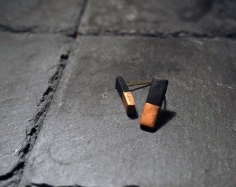 Minimal Black & Copper Bar Stud Earrings