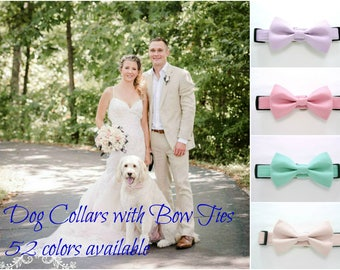 Wedding Dog Collar with Bow Tie -52 Colors Available (Mini,X-Small,Small,Medium ,Large or X-Large Size)- Adjustable