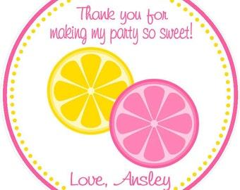 Lemonade Favor Tags ( Set of 12 ) / Lemonade Birthday Favors / Pink Lemonade Favors / Pink Lemonade Birthday / Lemonade Party Favors